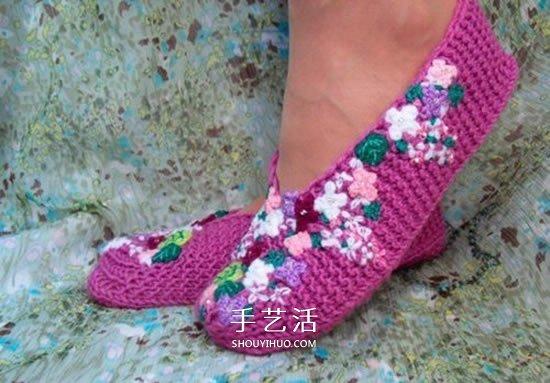 地板鞋的編織方法圖解 棒針織地板襪子的織法