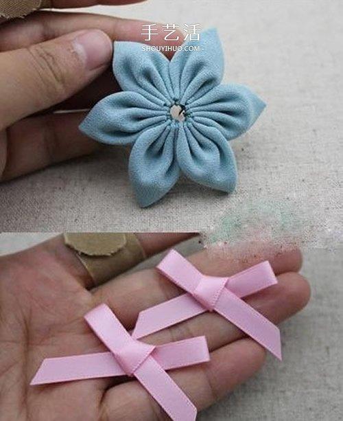 雪紡布手工製作小清新蝴蝶結花朵飾品圖解