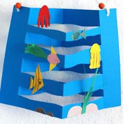 幼儿园用卡纸手工制作海底世界挂饰的教