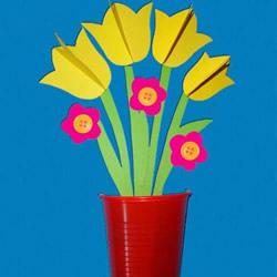 自制郁金香花贺卡的做法 立体花朵盆栽卡片DIY