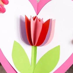 儿童手工制作母亲节郁金香爱心卡片的方法
