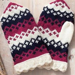 用毛线编织带漂亮花纹的连指手套织法图解