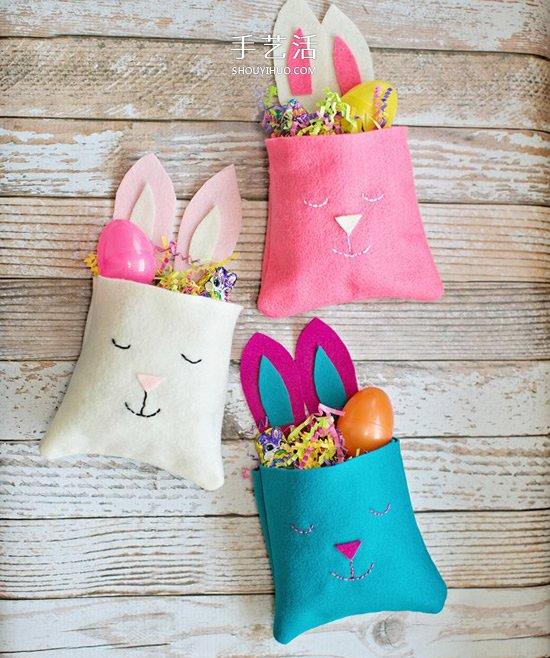 復活節兔子收納袋DIY 手工兔子布袋的做法