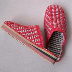 用棒针平针手工编织保暖拖鞋的方法图解