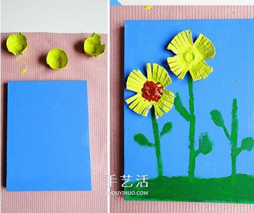 幼兒園重陽節小手工 用雞蛋托製作菊花貼畫