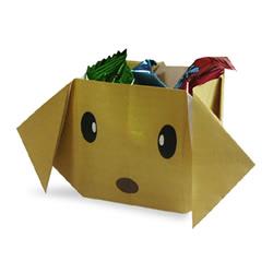 可爱卡通收纳盒折纸 放瓜子壳狗狗垃圾盒折法