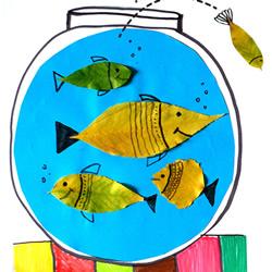 不用换水不用喂食!树叶贴画可爱鱼缸的方法