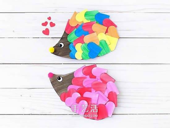 用卡纸做可爱的小刺猬 只要剪纸粘贴就好啦~ -  www.shouyihuo.com