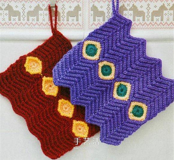 帶寶石圖案毛線杯套的手工編織方法圖解