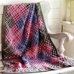 阿富汗民族风格手工钩针毛毯的编织方法图解