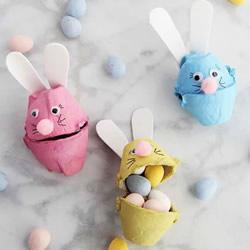 鸡蛋托环保小制作 做一个可爱的兔子收纳盒