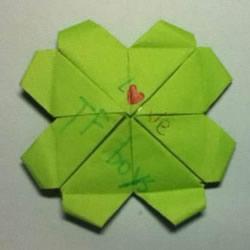 折叠四个爱心 组合成代表幸运的四叶草图解
