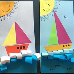 渴望拥抱夏日的大海!用卡纸做清凉帆船粘贴画
