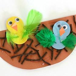 简单又有趣的卡纸手工 鸟窝里的小鸟宝宝制作