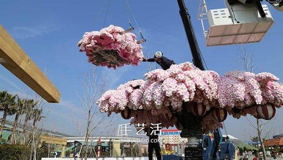 一年四季都綻放 世界上最大樂高櫻花樹圖片