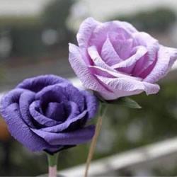 皱纹纸/旧包装纸做玫瑰花的方法 形态很逼真!