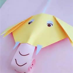 吹下吸管象鼻子就会动 简单有趣的幼儿玩具DIY