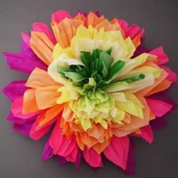 七种颜色似彩虹!皱纹纸做七彩纸花的方法