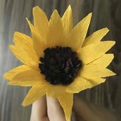 DIY手揉纸向日葵的方法 简单易学太阳花制作