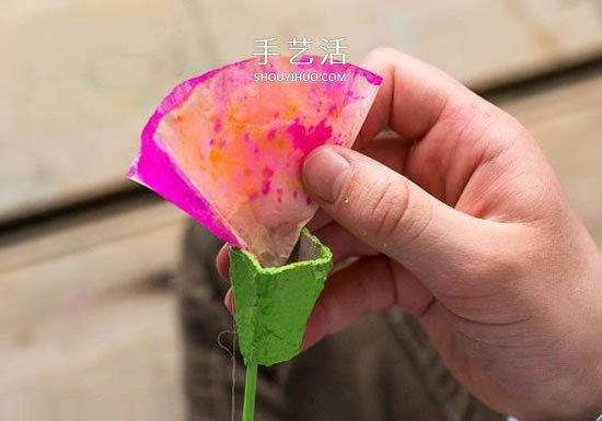 雞蛋托和蛋糕紙廢物利用 手工做美麗康乃馨