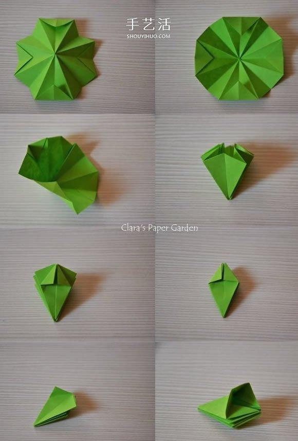 简单又很漂亮的纸花 手工八瓣花的折纸图解 -  www.shouyihuo.com