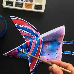 A4纸做小鸟方法图片 幼儿水彩涂色制作小鸟