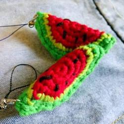 夏天最好玩的挂饰 钩针编织毛线西瓜的方法