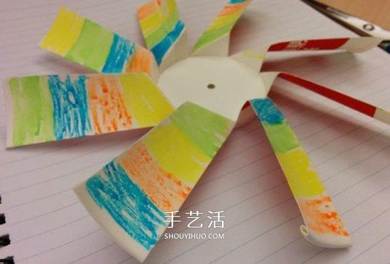 用紙杯做風車製作步驟 紙杯風車的做法圖片
