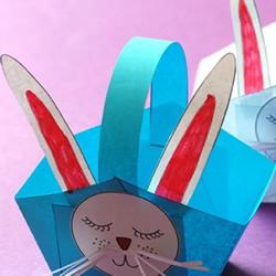 小兔子篮子手工制作 用彩纸做动物纸篮的方法
