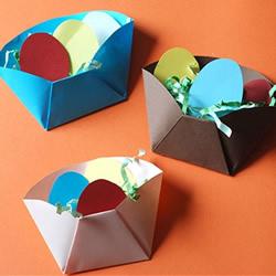 幼儿用卡纸折纸盒教程 手工制作复活节彩蛋
