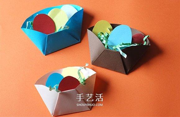 幼儿用卡纸折纸盒教程 手工制作复活节彩蛋 -  www.shouyihuo.com