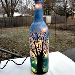 彩绘酒瓶创意手工图片 丙烯手绘玻璃瓶DIY
