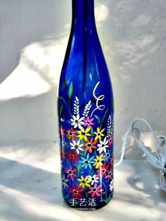 彩繪酒瓶創意手工圖片 丙烯手繪玻璃瓶DIY