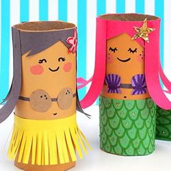 幼儿园人偶制作 用卷纸筒做超萌女孩美人鱼