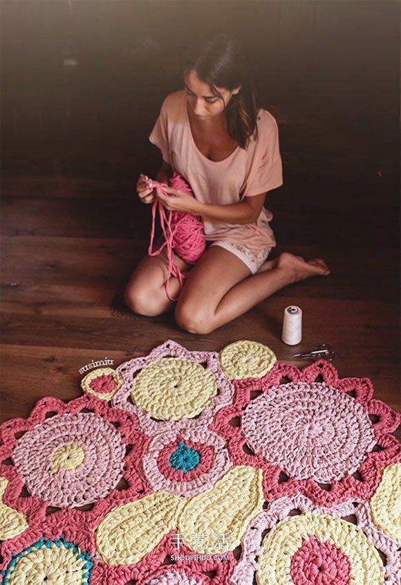 鉤針編織花型地毯的方法 讓家變得明亮溫馨!