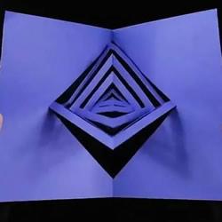 只用一张卡纸做3D旋转装置 打开闭合就会转动