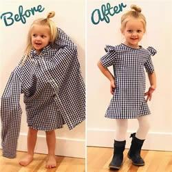 心灵手巧!爸爸的旧衬衫改造成女儿漂亮裙子