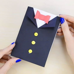 有趣的父亲节卡片DIY制作 穿黑西装打领结!