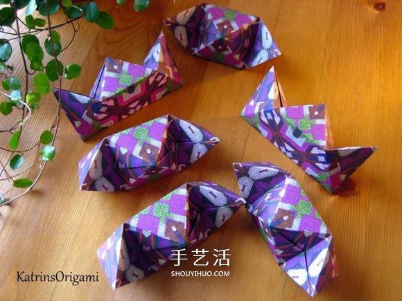 拼纸制作花球的方法 立体星星的折叠步骤 -  www.shouyihuo.com