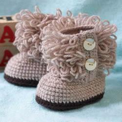 UGG风格宝宝鞋编织方法 钩针编织保暖婴儿鞋