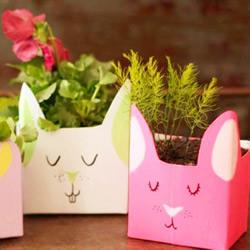 牛奶盒废物利用 手工制作兔子收纳盒的方法