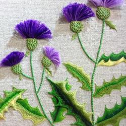 立体叶子的刺绣方法 手工刺绣双色叶子图解