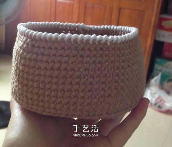 毛線收納籃怎麼編織 鉤針編織圓形收納筐圖解