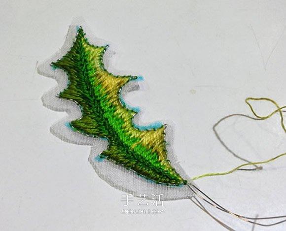 立体叶子的刺绣方法 手工刺绣双色叶子图解 -  www.shouyihuo.com
