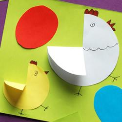 彩纸贴画母鸡和小鸡的制作方法 简单又可爱!