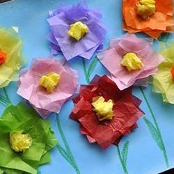 彩纸贴画手工制作 用彩纸贴出美丽的花朵画