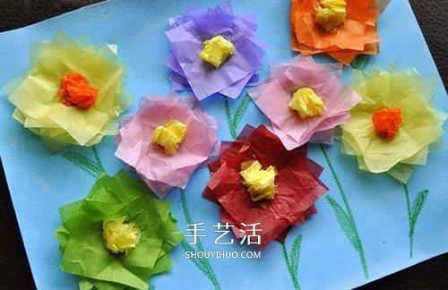 彩纸贴画手工制作 用彩纸贴出美丽的花朵画 -  www.shouyihuo.com