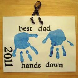 自制父亲节手印贺卡 简单有创意父亲节卡片DIY