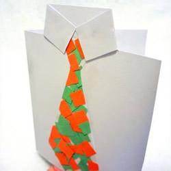 拼贴帅气的小领带!可爱父亲节卡片手工制作