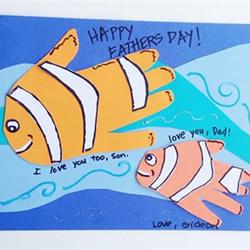 大鱼带着小鱼游 有爱的父亲节贺卡手工制作